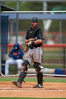 GCL Marlins catcher Cameron Barstad (6) during a Gulf Coast League game against the GCL Mets on August 11, 2019 at St. Lucie Sports Complex in St. Lucie, Florida.  The Marlins defeated the Mets 3-2 in the second game of a doubleheader.  (Mike Janes/Four Seam Images)
