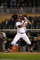 LaMonte Wade (6) of the Maryland Terrapins bats during a 2015 Big Ten Conference Tournament game between the Maryland Terrapins and Michigan State Spartans at Target Field on May 20, 2015 in Minneapolis, Minnesota. (Brace Hemmelgarn/Four Seam Images)