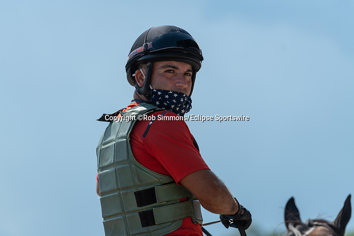 August 22, 2020: outrider on The FourStarDave day at Saratoga Race Course in Saratoga Springs, New York. Rob Simmons/CSM