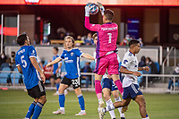 SAN JOSE, CA - MAY 01: JT Marcinkowski #1 of the San Jose Earthquakes jumps to save the ball during a game between San Jose Earthquakes and D.C. United at PayPal Park on May 01, 2021 in San Jose, California.