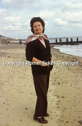 PD James portrait author writer in Southwold Suffolk where she lived 1980s UK