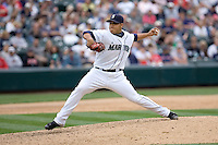 July 23, 2008: Seattle Mariners reliever Cesar Jimenez delivers a pitch against the Boston Red Sox at Safeco Field in Seattle, Washington.