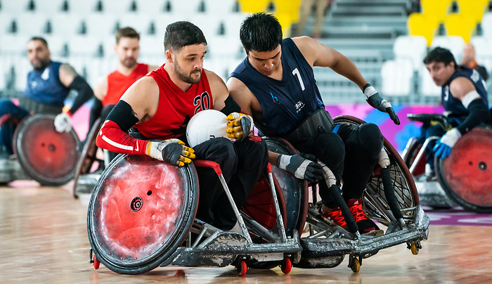 Benjamin Perkins, Lima 2019 - Wheelchair Rugby // Rugby en fauteuil roulant.<br /> Canada takes on Argentina in wheelchair rugby // Le Canada affronte l'Argentine au rugby en fauteuil roulant. 23/08/2019.