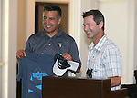 Epic Rides founder Todd Sadow presents Gov. Brian Sandoval with commemorative items during the kick off of the Epic Rides Carson City Off-Road at the Governor's Mansion in Carson City, Nev., on Friday, June 17, 2016.<br /> Photo by Cathleen Allison
