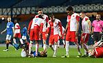 18.3.2021 Rangers v Slavia Prague: Slavia players exchange words with Alfredo Morelos