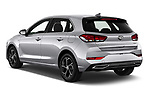 Car pictures of rear three quarter view of 2020 Hyundai i30 Techno 5 Door Hatchback Angular Rear