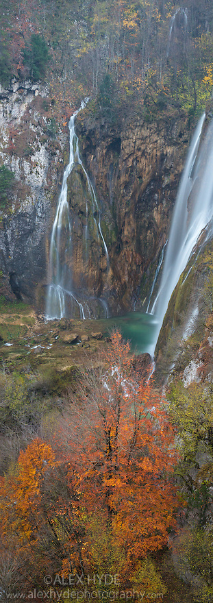 Veliki Slap (The Big Waterfall), over which the Plitvica river plummets 78 metres.  Plitvice Lakes National Park, Croatia. November. Digitally stitched vertical panorama