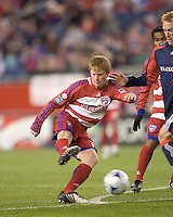 FC Dallas midfielder Dax McCarty (13) shoots. The New England Revolution defeated FC Dallas, 2-1, at Gillette Stadium on April 4, 2009. Photo by Andrew Katsampes /isiphotos.com