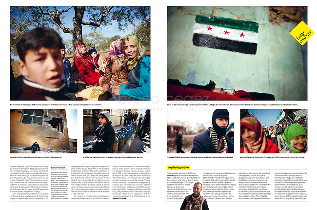 Courrier International (French weekly): Syria, Idlib province - Uprising against Assad, 03.2012 Photos: Timo Vogt