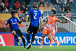 Jeju United Forward Magno Da Cruz (R) fights for the ball with Gamba Osaka Defender Fabio Da Silva (L) during the AFC Champions League 2017 Group H match Between Jeju United FC (KOR) vs Gamba Osaka (JPN) at the Jeju World Cup Stadium on 09 May 2017 in Jeju, South Korea. Photo by Marcio Rodrigo Machado / Power Sport Images