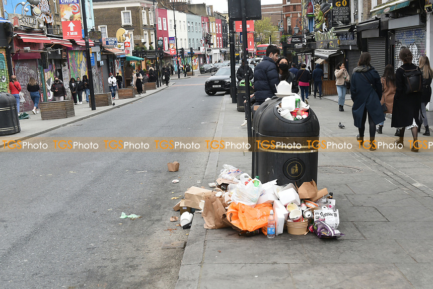 The bins are overflowing in the Camden Lock area as the COVID-19 lockdown restrictions start to ease across the UK on 2nd April 2021
