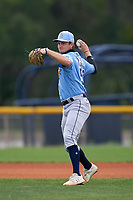 Tampa Bay Rays shortstop Tanner Murray (53) throws to first base during a Minor League Spring Training game against the Baltimore Orioles on April 23, 2021 at Charlotte Sports Park in Port Charlotte, Florida.  (Mike Janes/Four Seam Images)