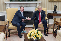 President Donald Trump shakes hands with Danish Prime Minister Lars Løkke Rasmussen, Thursday, March 30, 2017, in the Oval Office of the White House in Washington, D.C. (Official White House Photo by D. Myles Cullen)