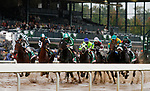 """LEXINGTON, KY - October 8, 2017. Start of the Juddmonte Spinster - eventual winner #11 Romantic Vision and jockey Brian Hernandez Jr. (far left, green/white cap) win the 62nd running of the Juddmonte Spinster Grade 1 $500,000 """"Win and You're In Breeders' Cup Distaff Division"""" for owner G. Watts Humphrey Jr. and trainer George Arnold at Keeneland Race Course.  Lexington, Kentucky. (Photo by Candice Chavez/Eclipse Sportswire/Getty Images)"""