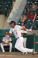 Adalberto Carrillo (8) of the Southern California Trojans bats during a game against the Oakland Grizzlies at Dedeaux Field on February 21, 2015 in Los Angeles, California. Southern California defeated Oakland, 11-1. (Larry Goren/Four Seam Images)