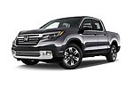 Stock pictures of low aggressive front three quarter view of a 2019 Honda Ridgeline RTL-T 4 Door Pick Up