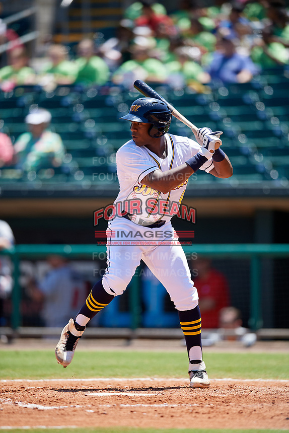 Montgomery Biscuits right fielder Justin Williams (4) at bat during a game against the Mississippi Braves on April 25, 2017 at Montgomery Riverwalk Stadium in Montgomery, Alabama.  Mississippi defeated Montgomery 3-2.  (Mike Janes/Four Seam Images)