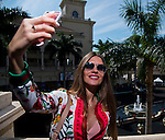 HALLANDALE BEACH, FL - JAN 28: A fan takes a selfie in the paddock before the first race on Pegasus World Cup Invitational Day at Gulfstream Park Race Course on January 28, 2017 in Hallandale Beach, Florida. (Photo by Scott Serio/Eclipse Sportswire/Getty Images)