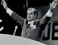 1969 FILE PHOTO - ARCHIVES -<br /> <br /> Arms spread wide, Quebec Premier Jean-Jacques Bertrand acknowledges cheering after he was confirmed Union Nationale leader in Quebec city Saturday.<br /> <br /> 1969<br /> <br /> PHOTO : Boris Spremo - Toronto Star Archives - AQP