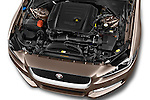 Car Stock 2015 Jaguar XE R-Sport 4 Door Sedan Engine  high angle detail view