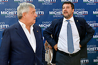 The europarlamentarian Antonio Tajani of Forza Italia center-right party  and the leader of Lega right party Matteo Salvini (r) prepare to attend an electoral campaign press conference for the mayoral election in Spinaceto, a peripheral neighborhood in the west of Rome on October 1st 2021. Photo Andrea Staccioli Insidefoto