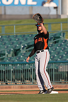 Dillon Dobson (15) of the San Jose Giants catches a ball at first base during a game against the Lancaster JetHawks at The Hanger on May 5, 2017 in Lancaster, California. San Jose defeated Lancaster, 4-2. (Larry Goren/Four Seam Images)