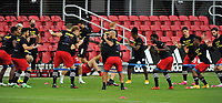WASHINGTON, DC - SEPTEMBER 27: D.C. United warming up during a game between New England Revolution and D.C. United at Audi Field on September 27, 2020 in Washington, DC.