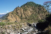 NEPAL Himalaya, erosion due to deforestation, mountain river / NEPAL, Himalaja, Erosion in den Bergen durch Abholzung, Gebirgsfluss