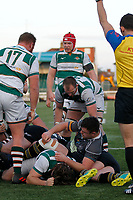 TRY - Referee,  Adam Leal indicates Ealing Trailfinders RFC have grounded the ball during the Championship Cup Quarter Final match between Ealing Trailfinders and Nottingham Rugby at Castle Bar , West Ealing , England  on 2 February 2019. Photo by Carlton Myrie / PRiME Media Images.