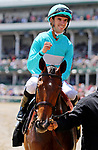 LOUISVILLE, KY - MAY 06: Florent Geroux, aboard Roca Rojo #6, smiles after winning the Churchill Distaff Turf Mile Stakes on Kentucky Derby Day at Churchill Downs on May 6, 2017 in Louisville, Kentucky. (Photo by Candice Chavez/Eclipse Sportswire/Getty Images)