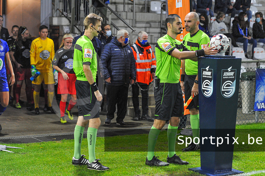 referee Ermaild Mataj pictured before a female soccer game between  AA Gent Ladies and Femina White Star Woluwe on the third matchday of the 2020 - 2021 season of Belgian Scooore Womens Super League , friday 2 nd of October 2020  in Oostakker , Belgium . PHOTO SPORTPIX.BE | SPP | STIJN AUDOOREN