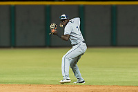 AZL Padres 1 second baseman Luis Guzman (7) throws to first base during an Arizona League game against the AZL Cubs 1 at Sloan Park on July 5, 2018 in Mesa, Arizona. The AZL Cubs 1 defeated the AZL Padres 1 3-1. (Zachary Lucy/Four Seam Images)