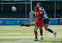 Steven Shingler of Ealing Trailfinders and Greg Dyer of Jersey Reds during the Greene King IPA Championship match between Ealing Trailfinders and Jersey at Castle Bar, West Ealing, England  on 19 October 2019. Photo by Alan Stanford / PRiME Media Images