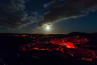 Moonlit Lava Field: Smooth lava flows slowly as the moon rises and lights up the 61g lava flow field, Hawai'i Volcanoes National Park, Big Island.