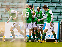 6th February 2021; Easter Road, Edinburgh, Scotland; Scottish Premiership Football, Hibernian versus Aberdeen; Martin Boyle of Hibernian is mobbed by team mates after he scores Hibs second goal in minute 67