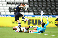 Simon Sluga of Luton Town saves a shot from Andre Ayew of Swansea City during the Sky Bet Championship match between Swansea City and Luton Town at the Liberty Stadium in Swansea, Wales, UK. Saturday 27 June 2020.