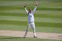 Danny Briggs of Warwickshire claims the wicket of Jamie Porter during Warwickshire CCC vs Essex CCC, LV Insurance County Championship Group 1 Cricket at Edgbaston Stadium on 25th April 2021