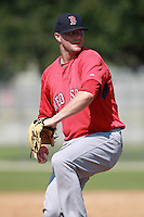 Boston Red Sox minor league pitcher Seth Garrison (64) during a game vs. the Minnesota Twins in an Instructional League game at Lee County Sports Complex in Fort Myers, Florida;  October 1, 2010.  Photo By Mike Janes/Four Seam Images
