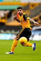 7th February 2021; Molineux Stadium, Wolverhampton, West Midlands, England; English Premier League Football, Wolverhampton Wanderers versus Leicester City; Rubén Neves of Wolverhampton Wanderers watches the ball after hitting a pass out to the wing