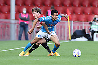 Foulon Daam of Benevento Calcio and Hirving Lozano of SSC Napoli compete for the ball<br /> during the Serie A football match between Benevento Calcio and SSC Napoli at stadio Ciro Vigorito in Benevento (Italy), October 25th, 2020. <br /> Photo Cesare Purini / Insidefoto