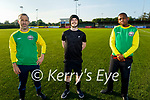 Tadgh McMullen who is hosting 'Gladiators' a mixed ability Soccer Team in Ireland training in KDL pitch on Monday evening. L to r: Tadgh McMullen, Jamie Cook and Tommy Cole