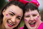 © Joel Goodman - 07973 332324 . 09/07/2017 . Manchester , UK . REBECCA HUGHES (28) and CHARMAINE LEWIS (23) (both from Rochdale) at the park ahead of the run . Race for Life charity run in aid of Cancer Research UK , in Heaton Park . Photo credit : Joel Goodman