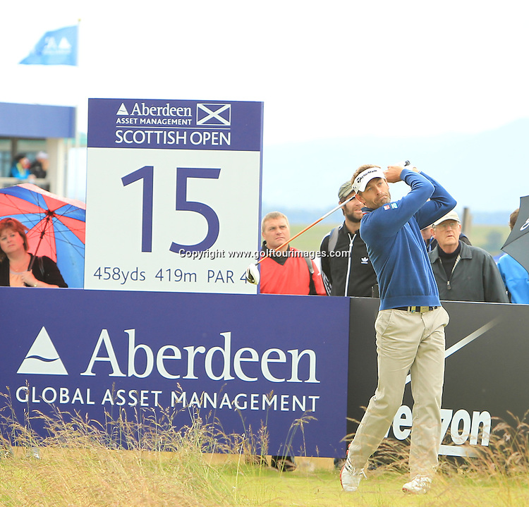 Raphael Jacquelin (FRA) during the third round of the 2012 Aberdeen Asset Management Scottish Open being played over the links at Castle Stuart, Inverness, Scotland from 12th to 15th July 2012:  Stuart Adams www.golftourimages.com:14th July 2012