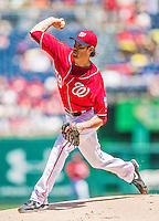 31 May 2014: Washington Nationals starting pitcher Doug Fister on the mound against the Texas Rangers at Nationals Park in Washington, DC. Fister recorded his 3rd win of the season as the Nationals defeated the Rangers 10-2, notching a second win of their 3-game inter-league series. Mandatory Credit: Ed Wolfstein Photo *** RAW (NEF) Image File Available ***
