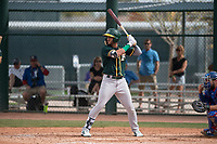 Oakland Athletics outfielder Luis Barrera (5) at bat during a Minor League Spring Training game against the Chicago Cubs at Sloan Park on March 13, 2018 in Mesa, Arizona. (Zachary Lucy/Four Seam Images)
