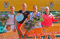 2013-08-17, Netherlands, Raalte,  TV Ramele, Tennis, NRTK 2013, National Ranking Tennis Champ,  Winners ladies doubles: Olga Kalyuzhnaya(L) end Danielle Harmsen and runners up ladies doubles; Nicole Thijssen and Steffanie Gomperts(r)<br /> <br /> Photo: Henk Koster