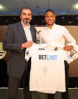 Pictured L-R:Sponsor Dimitris Legakis with Martin Olsson Wednesday 18 May 2017<br /> Re: Swansea City FC, Player of the Year Awards at the Liberty Stadium, Wales, UK.