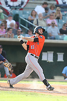 Anthony Bemboom #11 of the Inland Empire 66ers bats during a playoff game against the Lancaster JetHawks at The Hanger on September 7, 2014 in Lancaster, California. Lancaster defeated Inland Empire, 5-2. (Larry Goren/Four Seam Images)