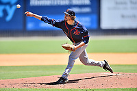 Bowling Green Hot Rods starting pitcher Jayden Murray (18) delivers a pitch during a game against the Asheville Tourists on May 30, 2021 at McCormick Field in Asheville, NC. (Tony Farlow/Four Seam Images)