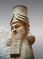 Stone statue of a winged bull. Reproduction from the facade of the throne room,  Inv AO 30043 from Dur Sharrukin the palace of Assyrian king Sargon II at Khorsabad, 713-706 BC.  Louvre Museum Room 4 , Paris
